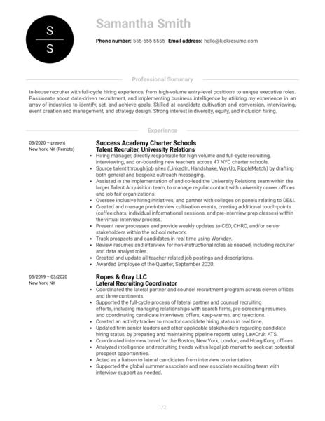 Recruiter at RapidSOS Resume Sample