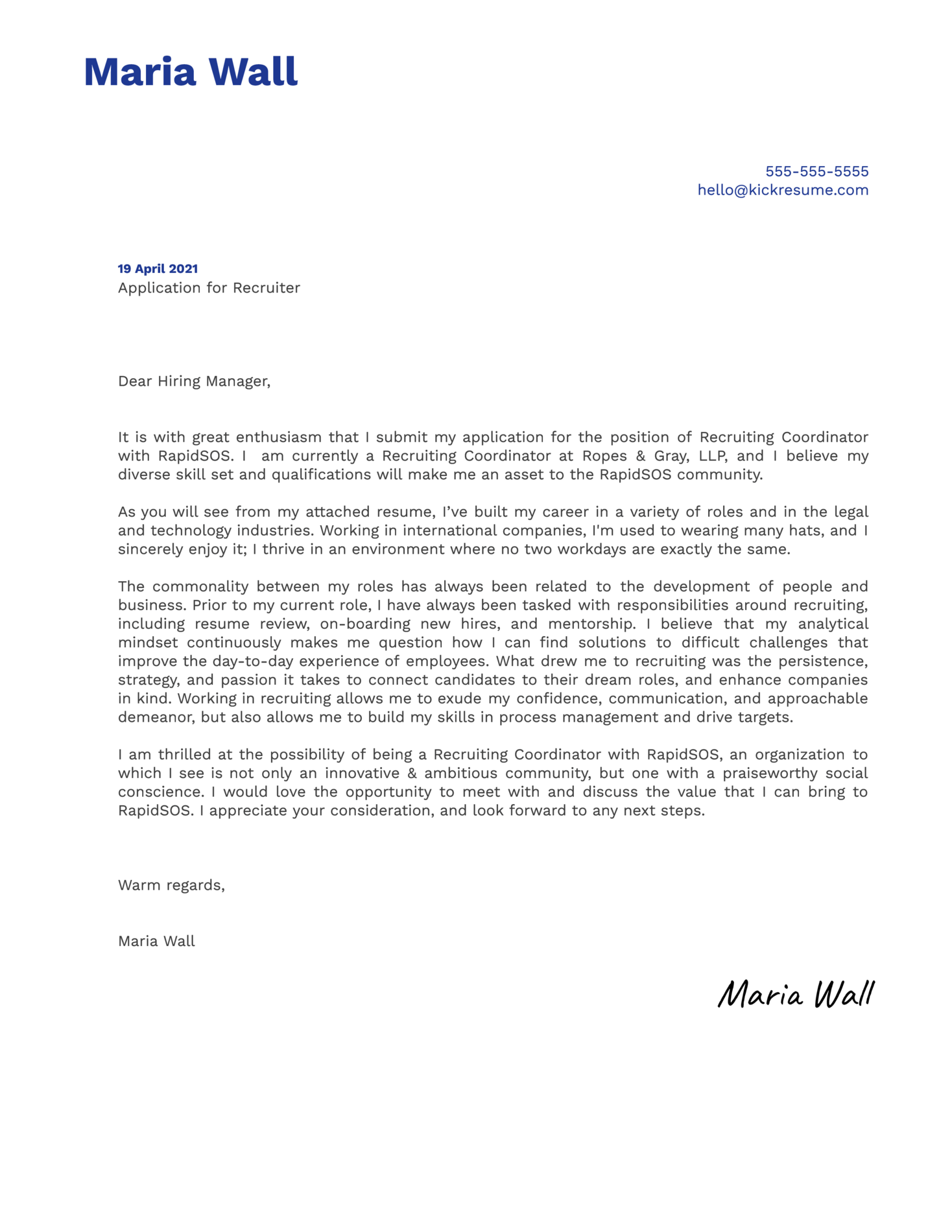 Recruiter at RapidSOS Cover Letter Example