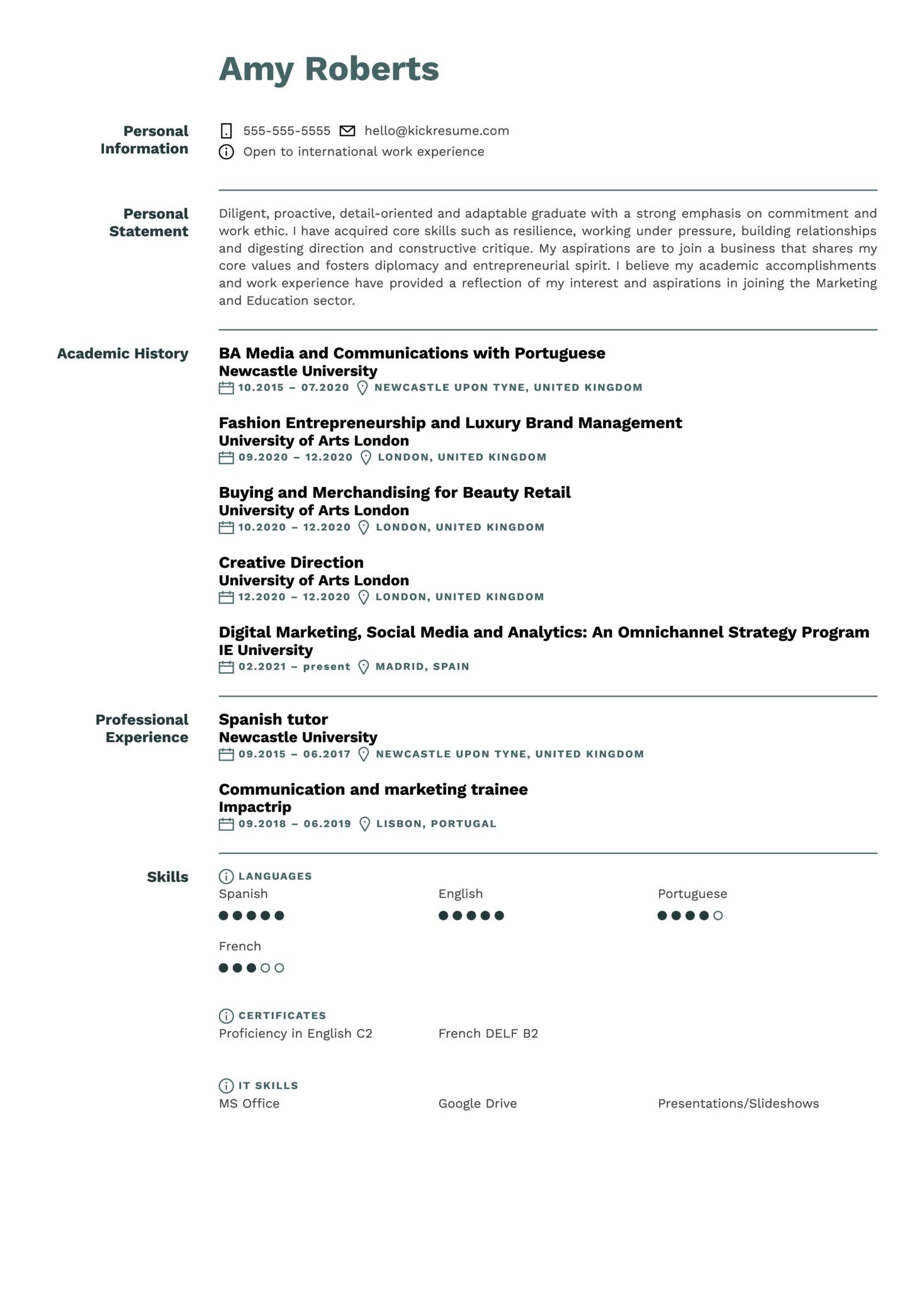 Analyst at ING Resume Sample (parte 1)