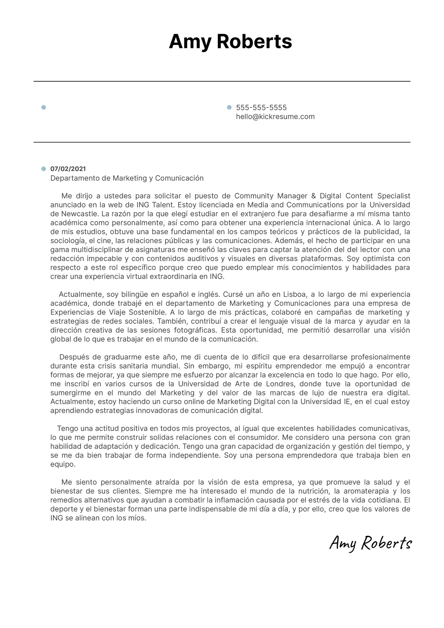 Analyst at ING Cover Letter Sample [ES]