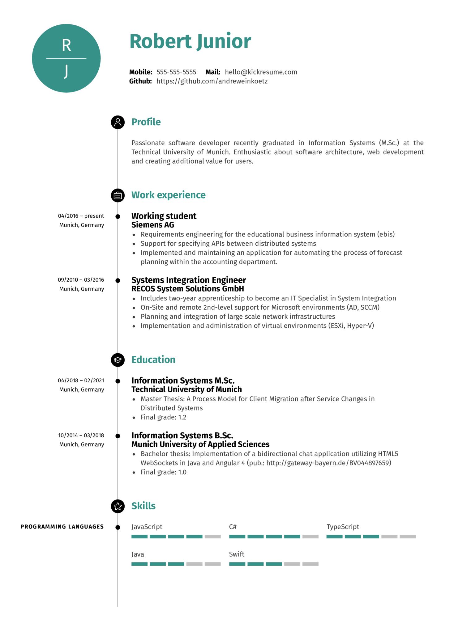 Software Engineer at Volkswagen Resume Template (Part 1)