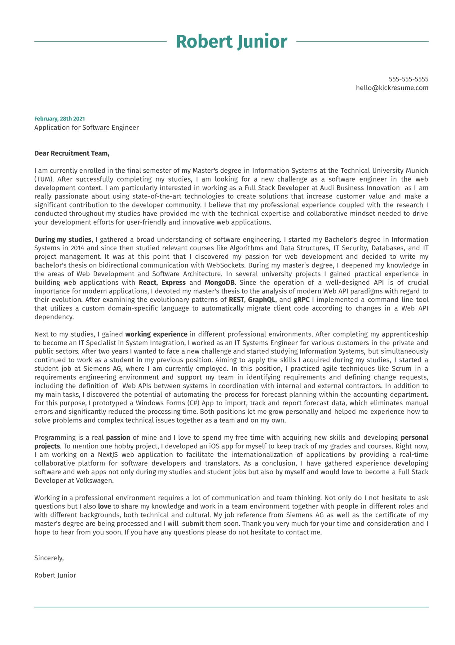 Software Engineer at Volkswagen Cover Letter Sample