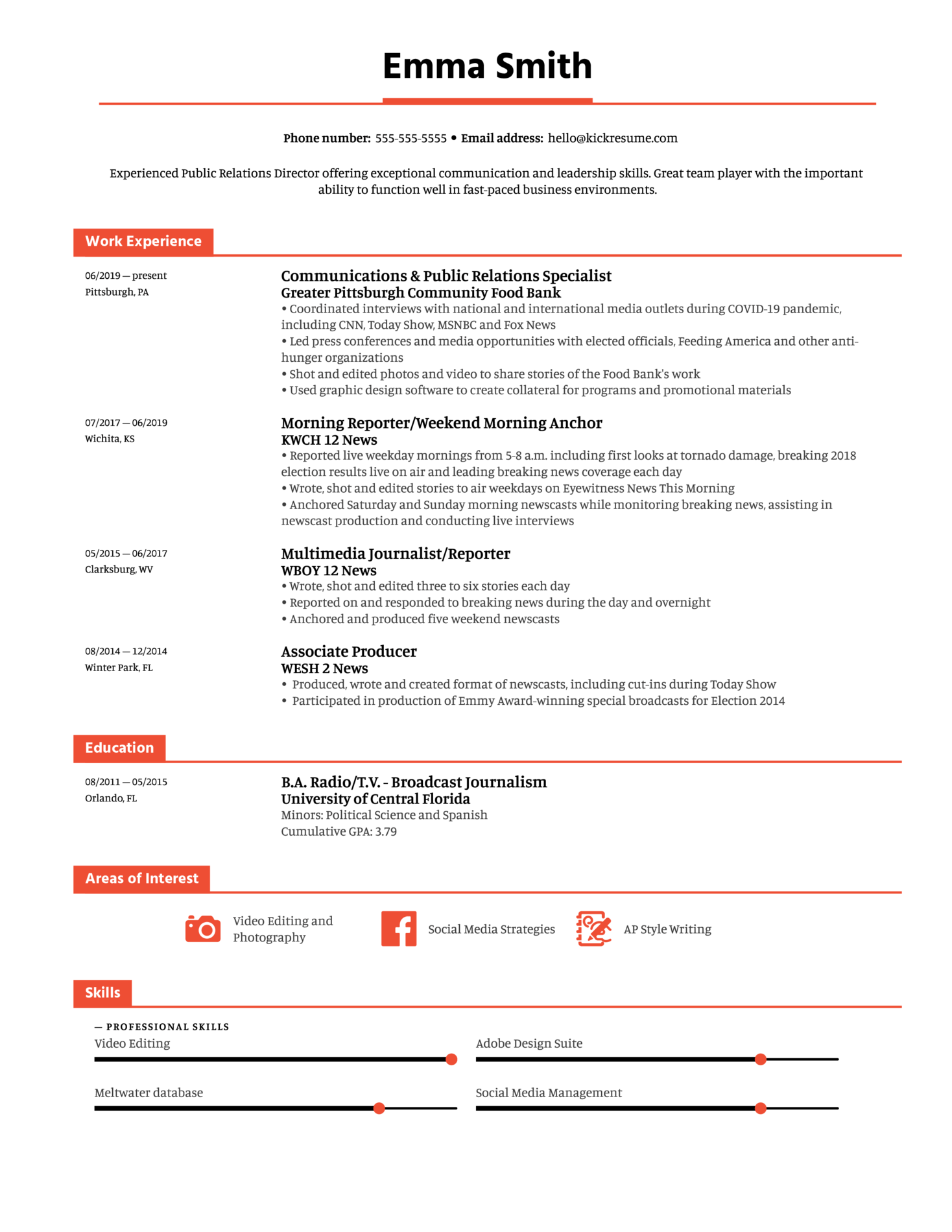 Public Relations Director at Palm Beach County Resume Sample