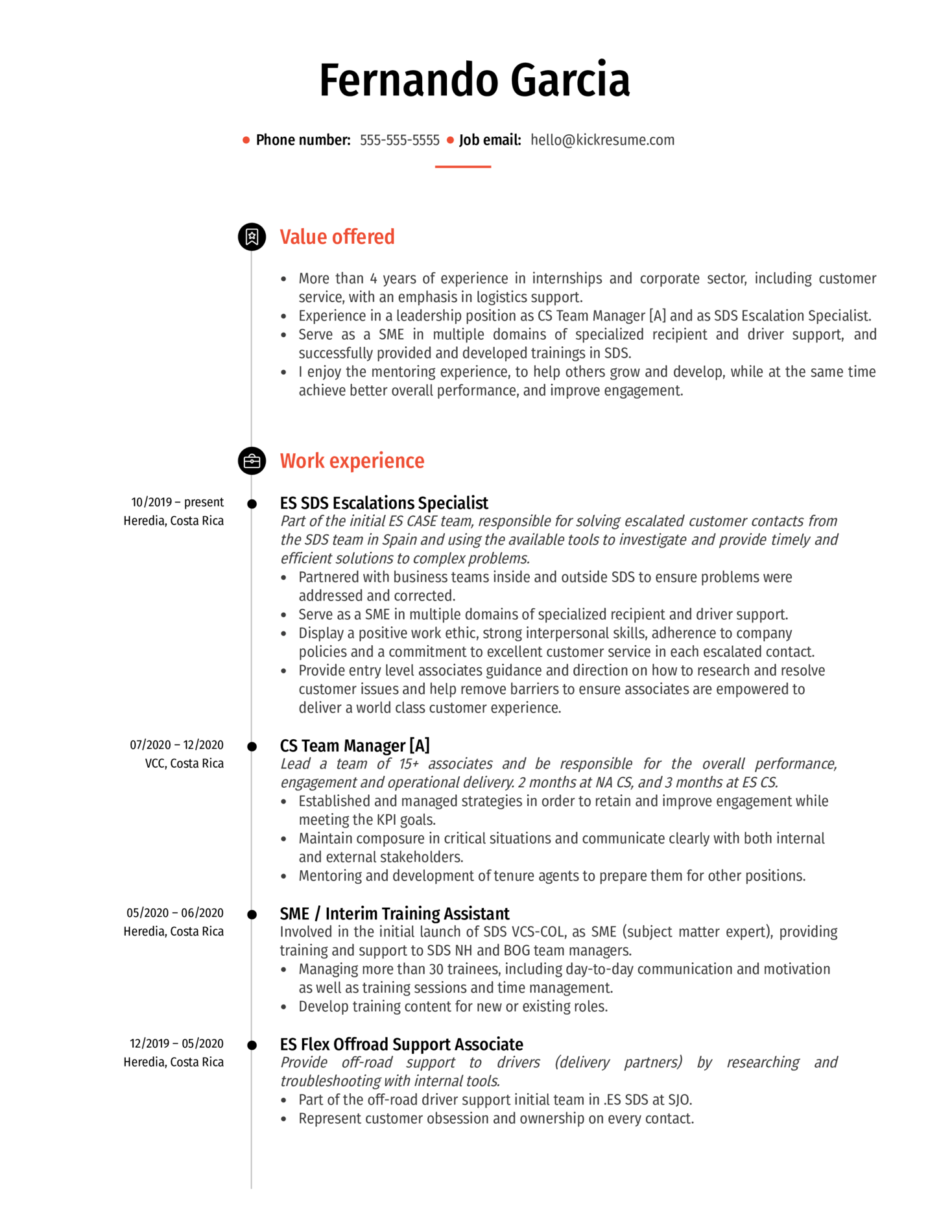 SDS Training Specialist at Amazon Resume Sample (parte 1)
