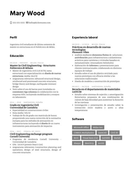 Junior Civil Engineer at WSP Spain Resume Sample [ES]