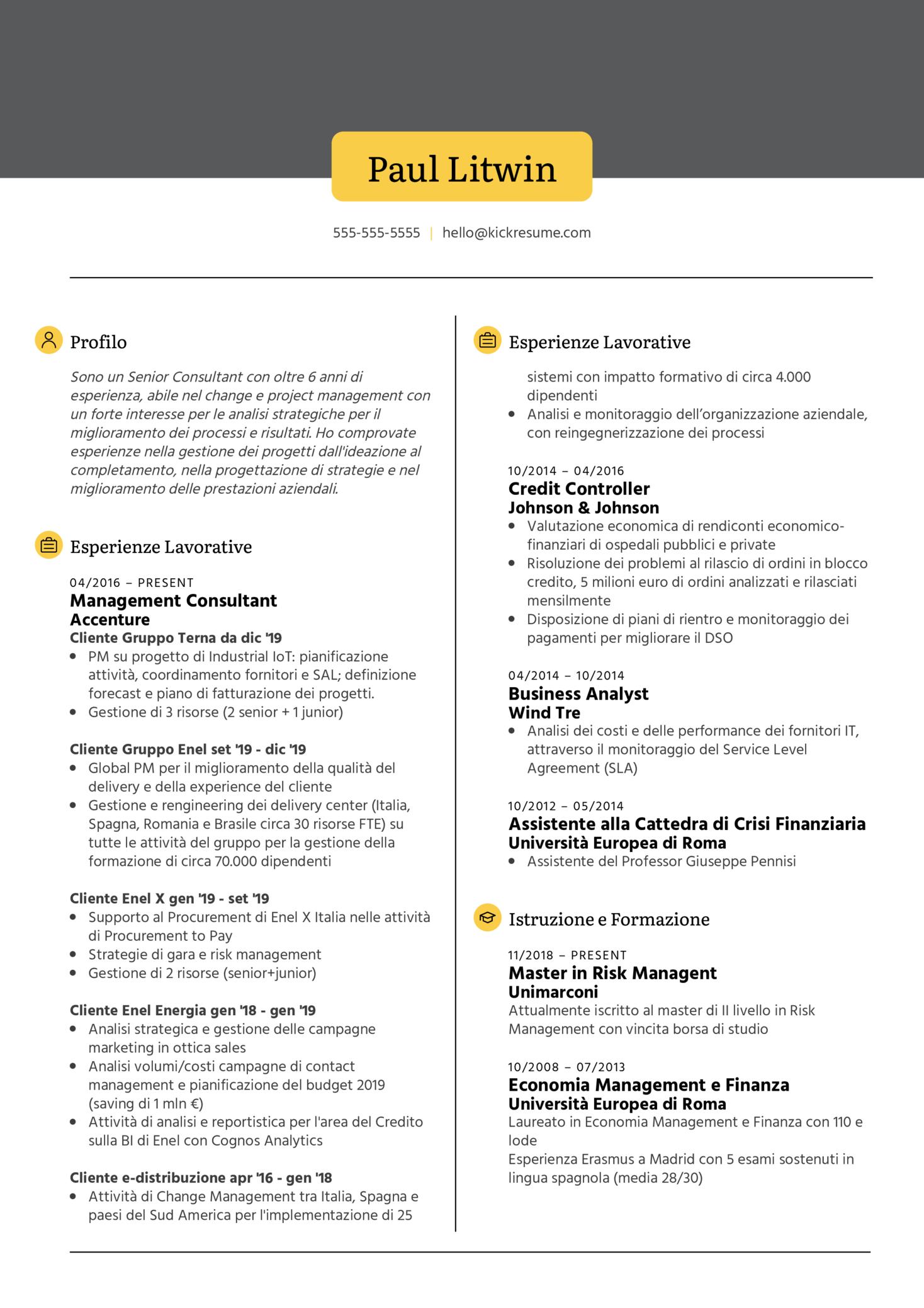 Procurement Specialist at Eni Resume Sample [IT] (Part 1)