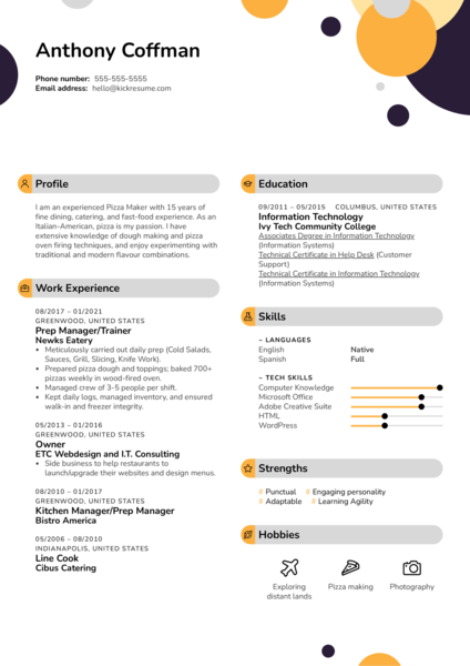 Pizza Maker Resume Example