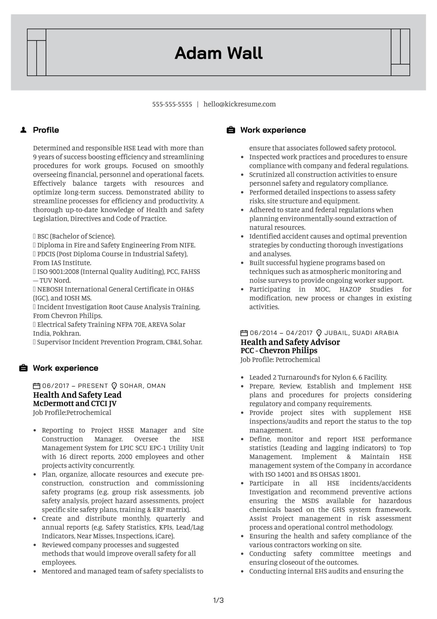 HSE Auditor Resume Sample (časť 1)