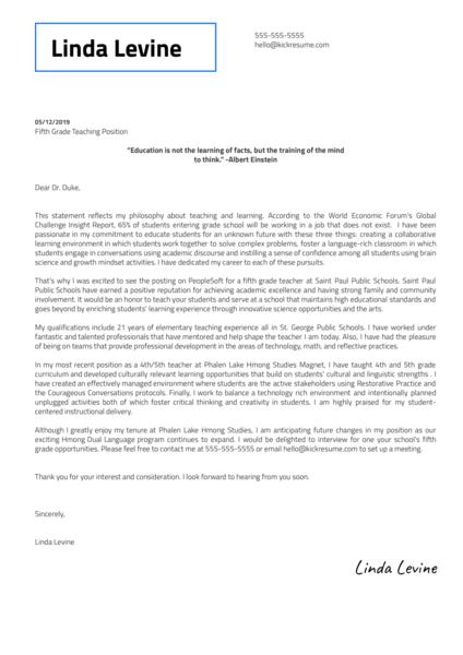 5th Grade Teacher at Saint Paul Public Schools Cover Letter Sample