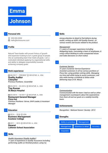 Food and Safety Specialist at Steritech Resume Sample