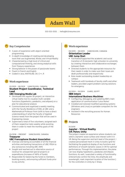 Software Engineering at UBC EML Resume Sample