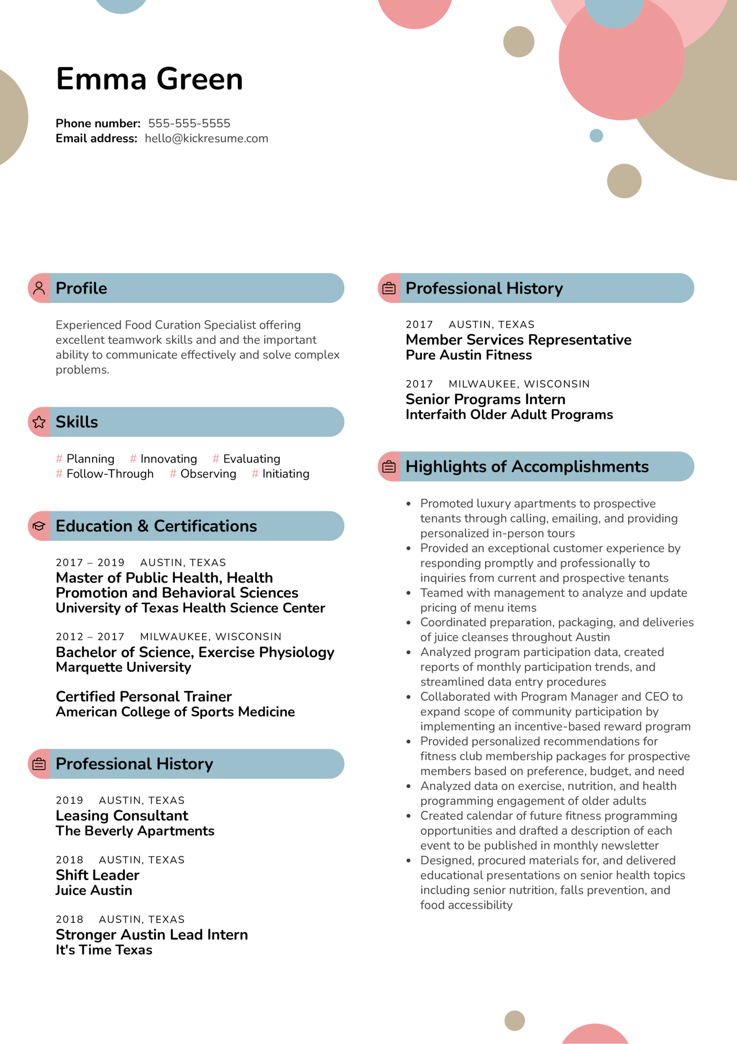 Food Curation Specialist at ZeroCater Resume Sample