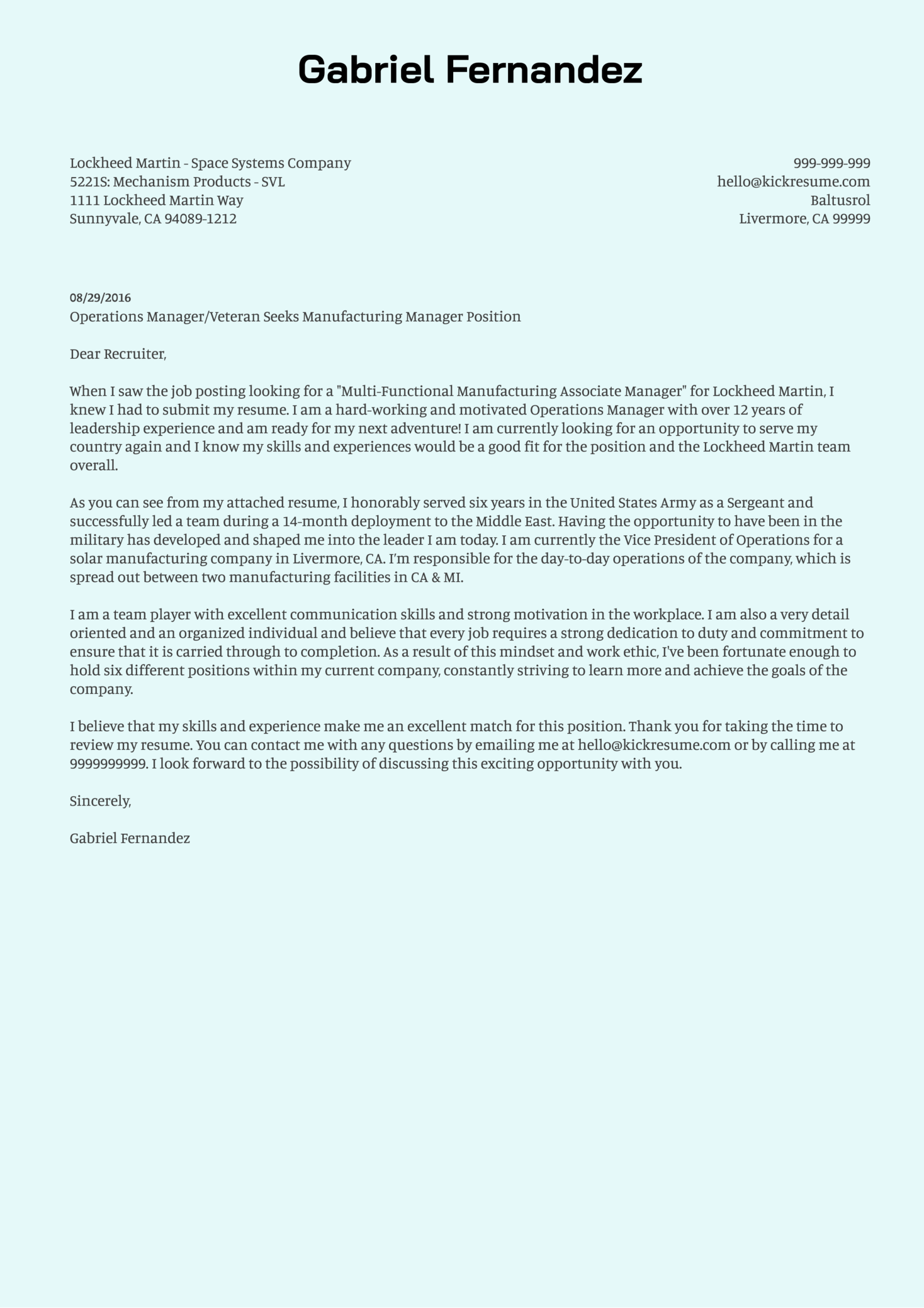 Lockheed Martin Manufacturing Manager Cover Letter