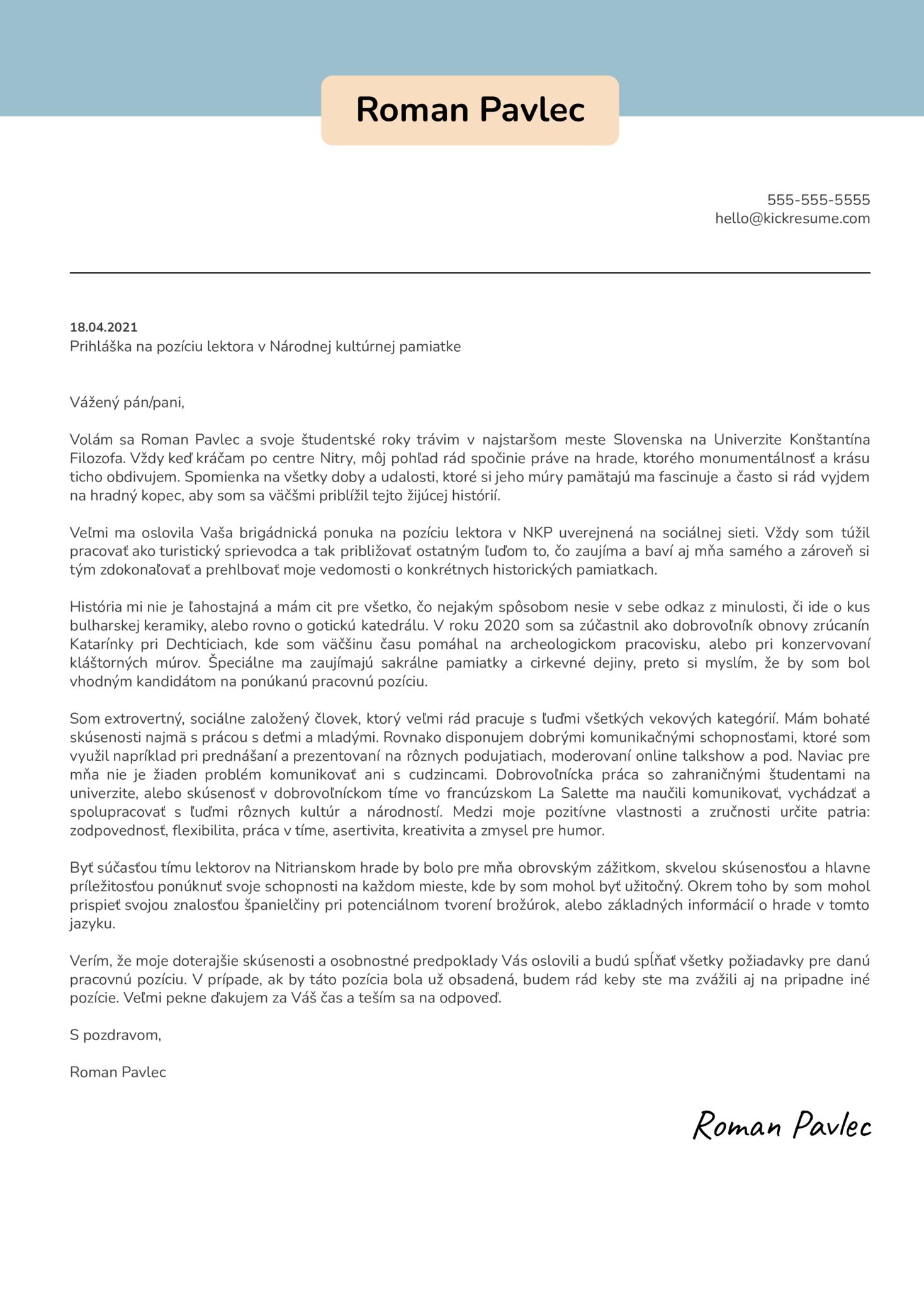 Turistický sprievodca/Lektor - Nitriansky hrad Motivačný list [SK]