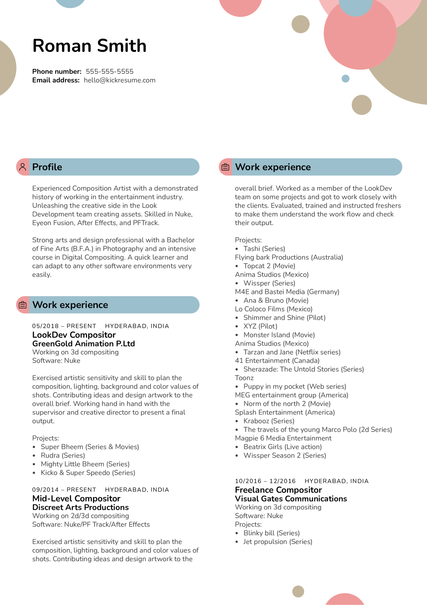 Compositor at Greengold Animation Resume Sample (Teil 1)