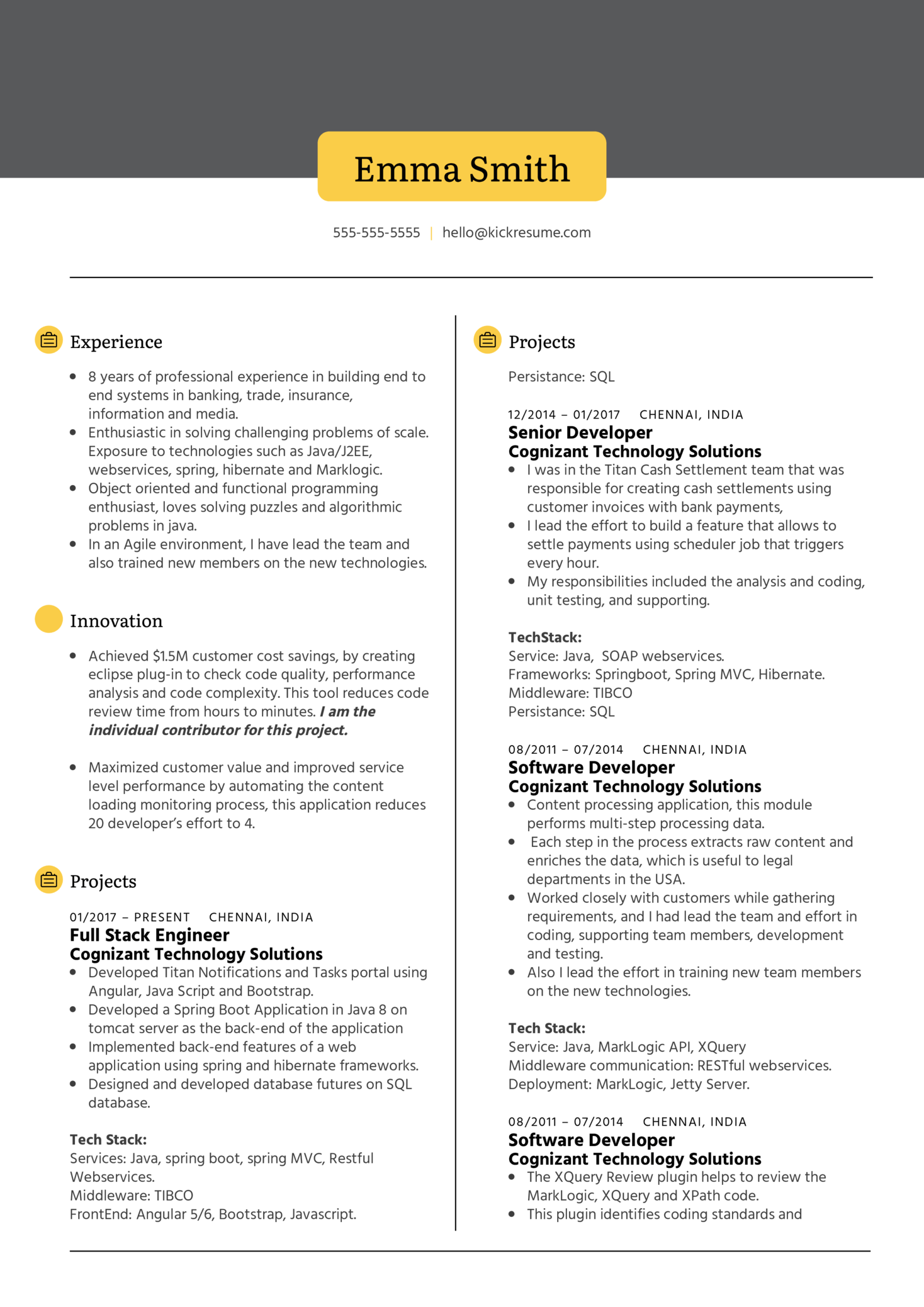 Technical Lead at Standard Chartered Resume Sample (časť 1)