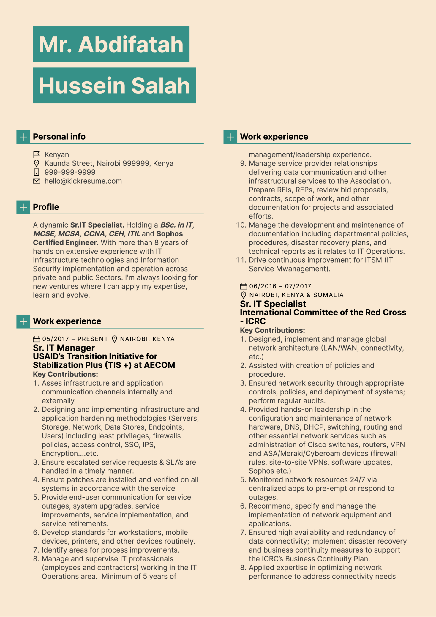 IT Manager Resume Sample (Part 1)
