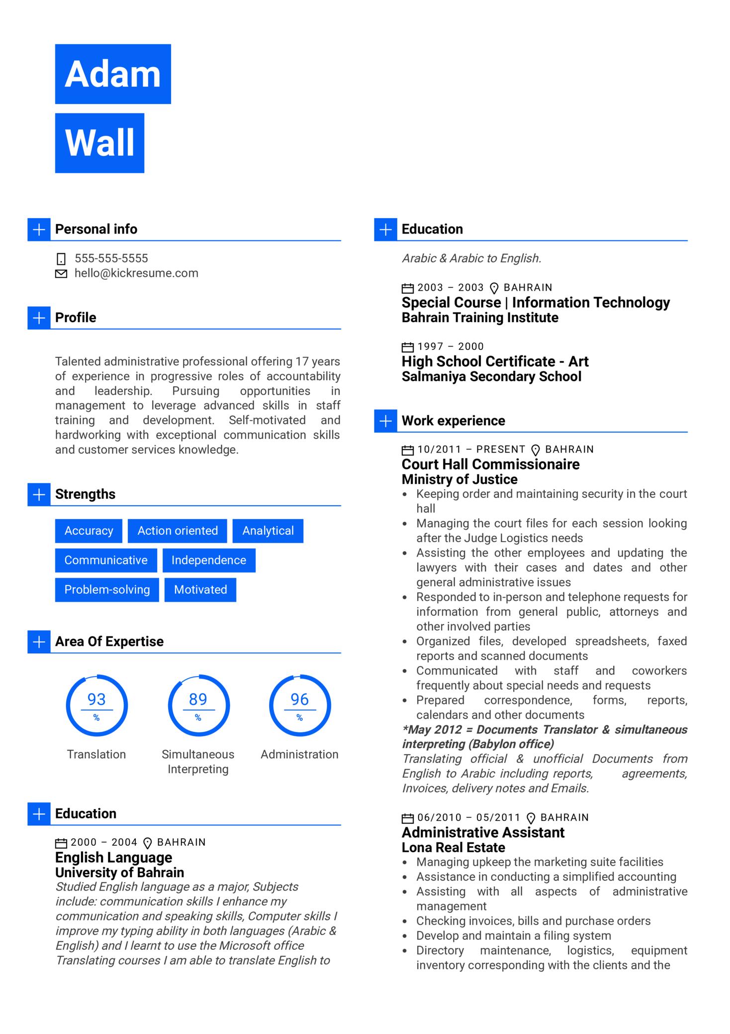 Manager at Kanoo Resume Sample (Part 1)