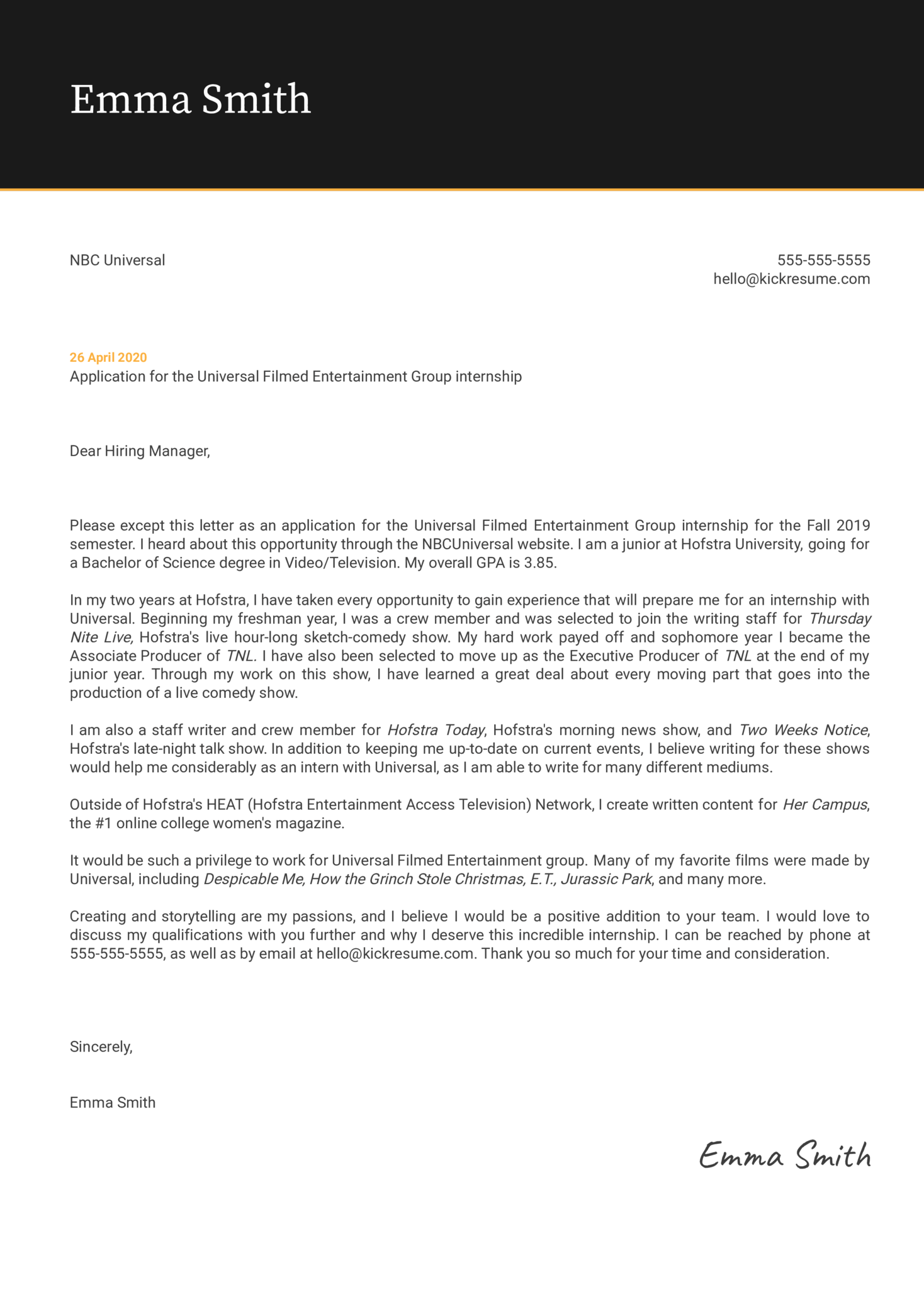 Intern at NBC Cover Letter Sample