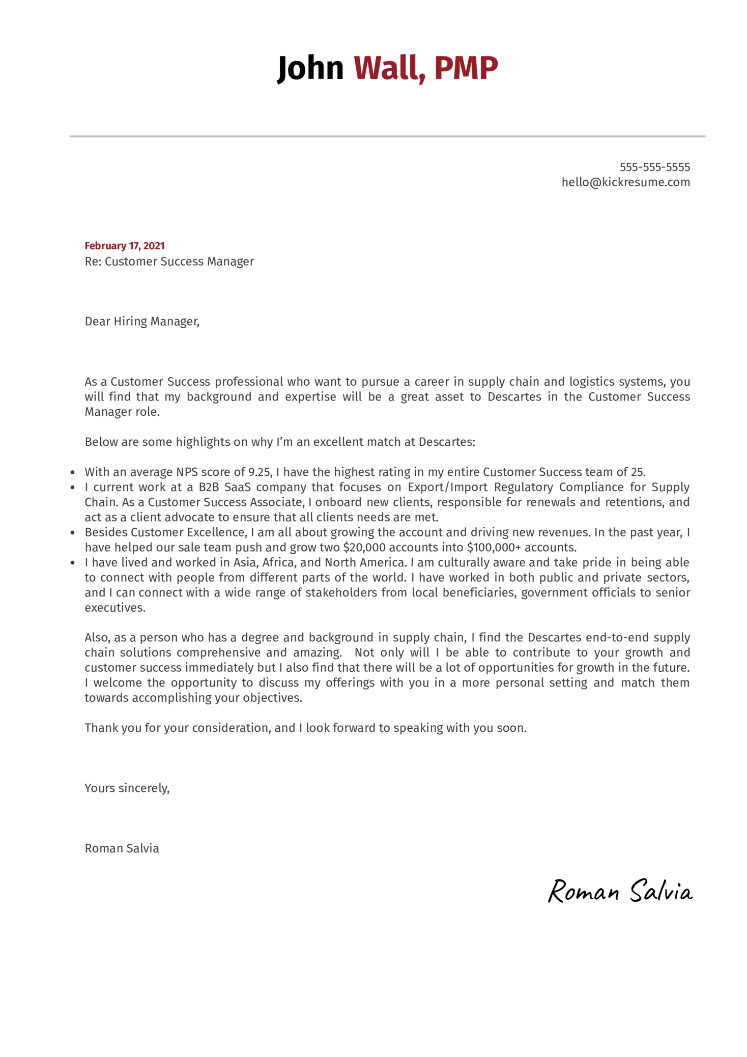 Customer Success Manager at Descartes Systems Cover Letter Sample