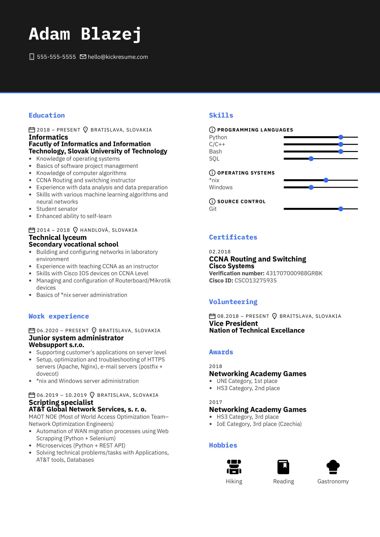 2nd Line Administrator at WebSupport Resume Sample