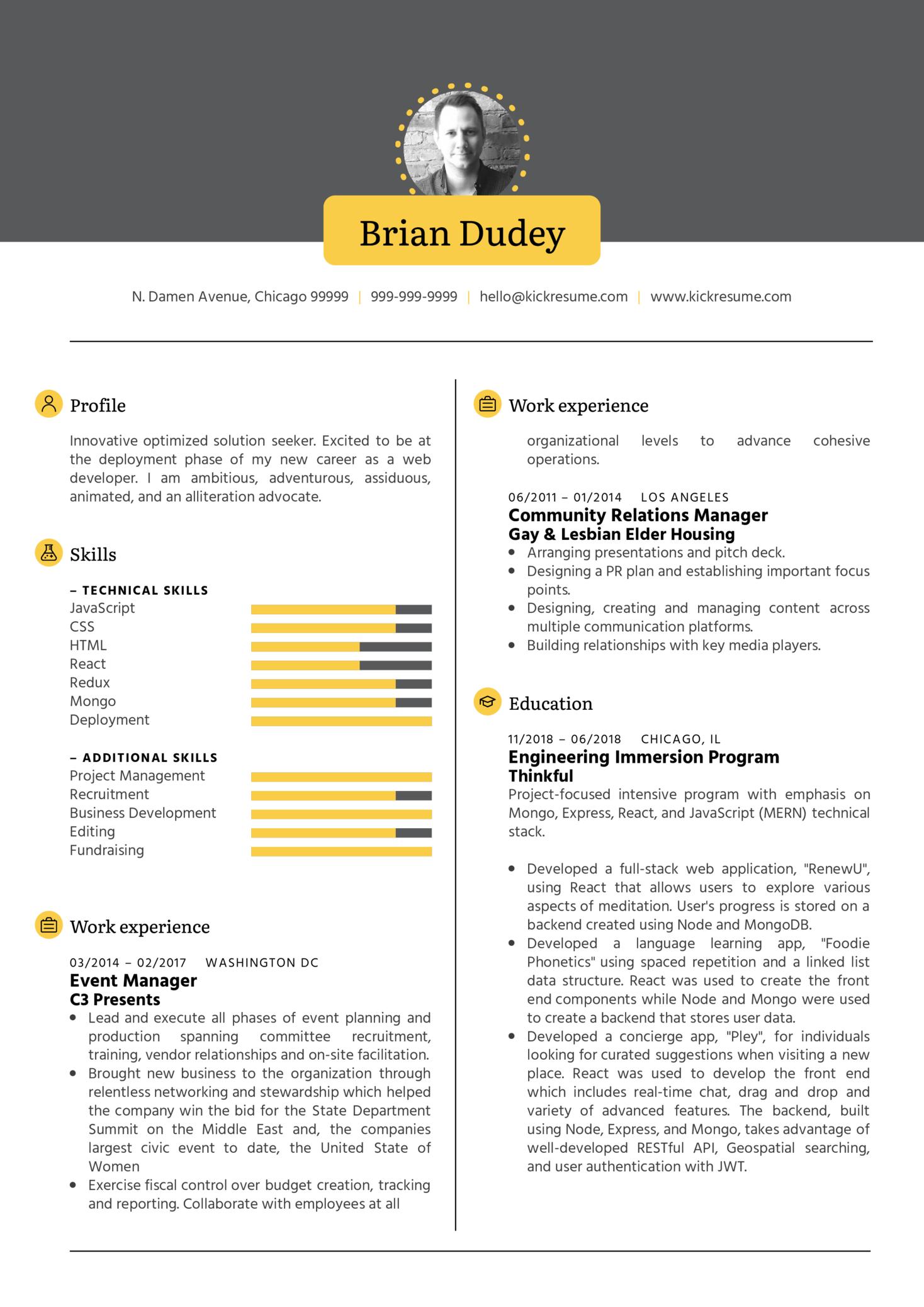 Full Stack Developer CV Sample (Part 1)