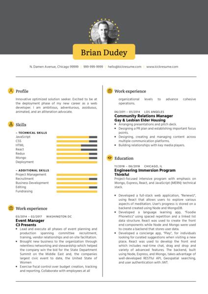 Full Stack Developer CV Sample