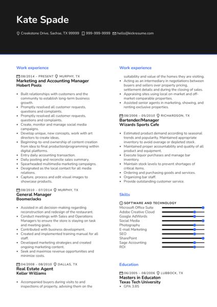 Marketing Manager CV Sample