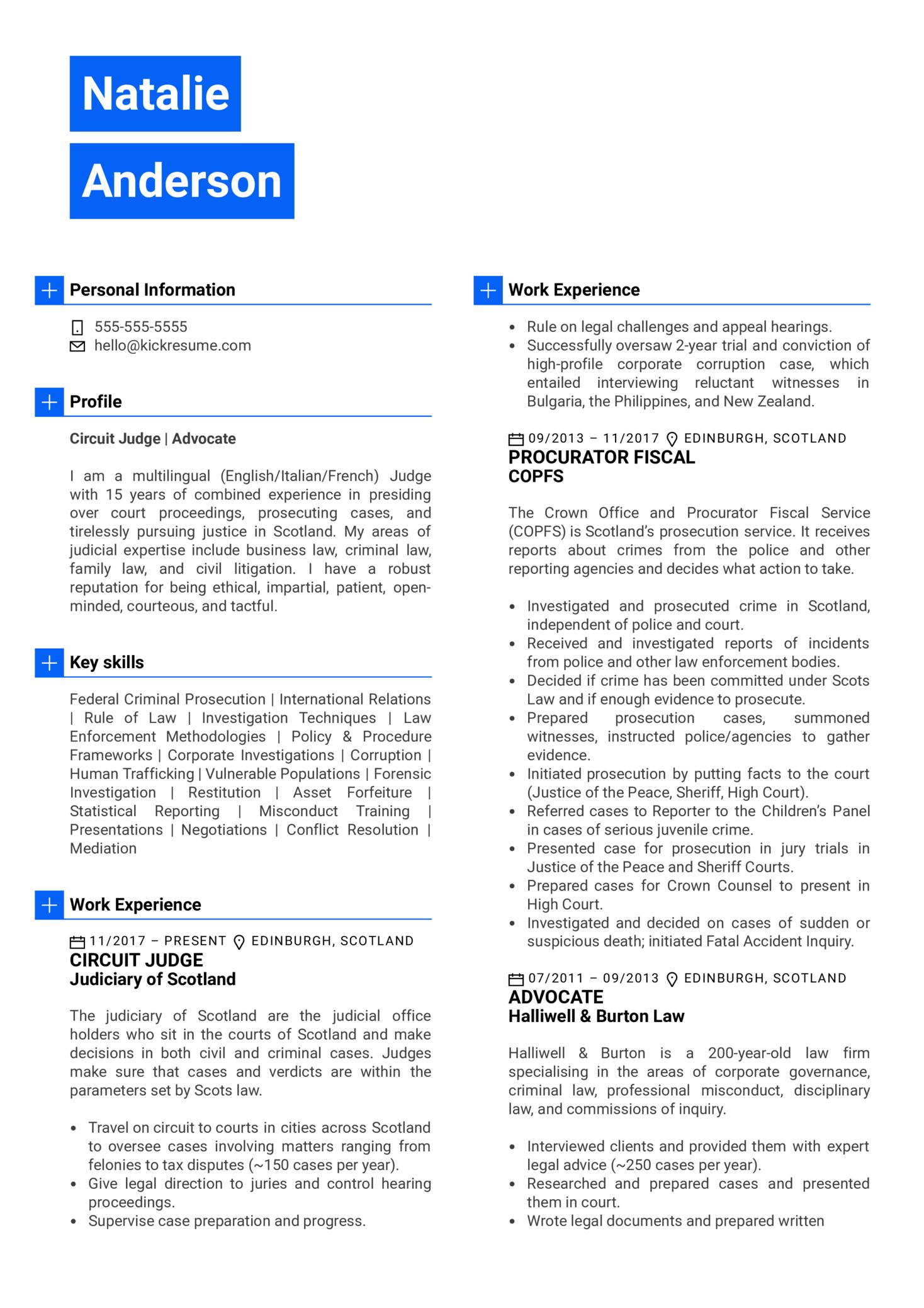 Judge Resume Sample (Teil 1)
