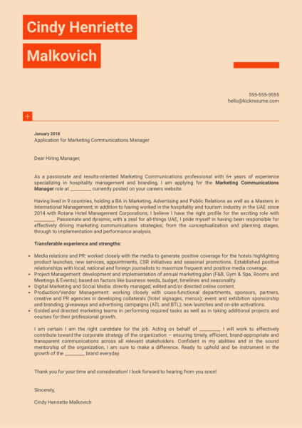 Marketing Communications Manager Cover Letter Sample