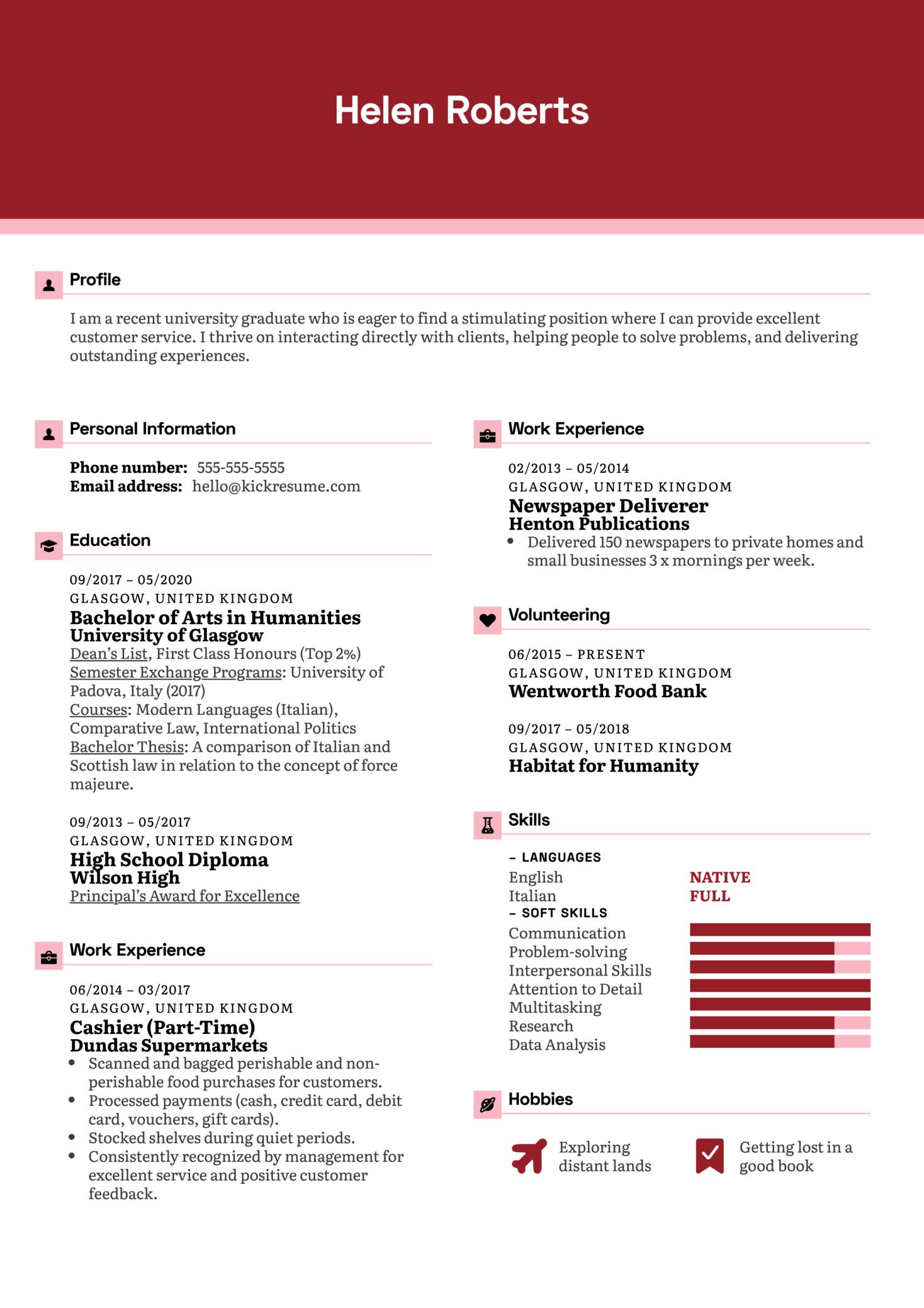 Beginner (Entry Level) Resume Sample