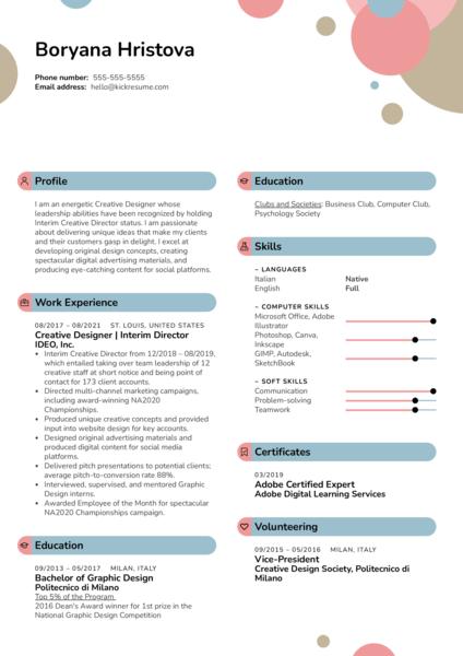 Creative Director Resume Sample