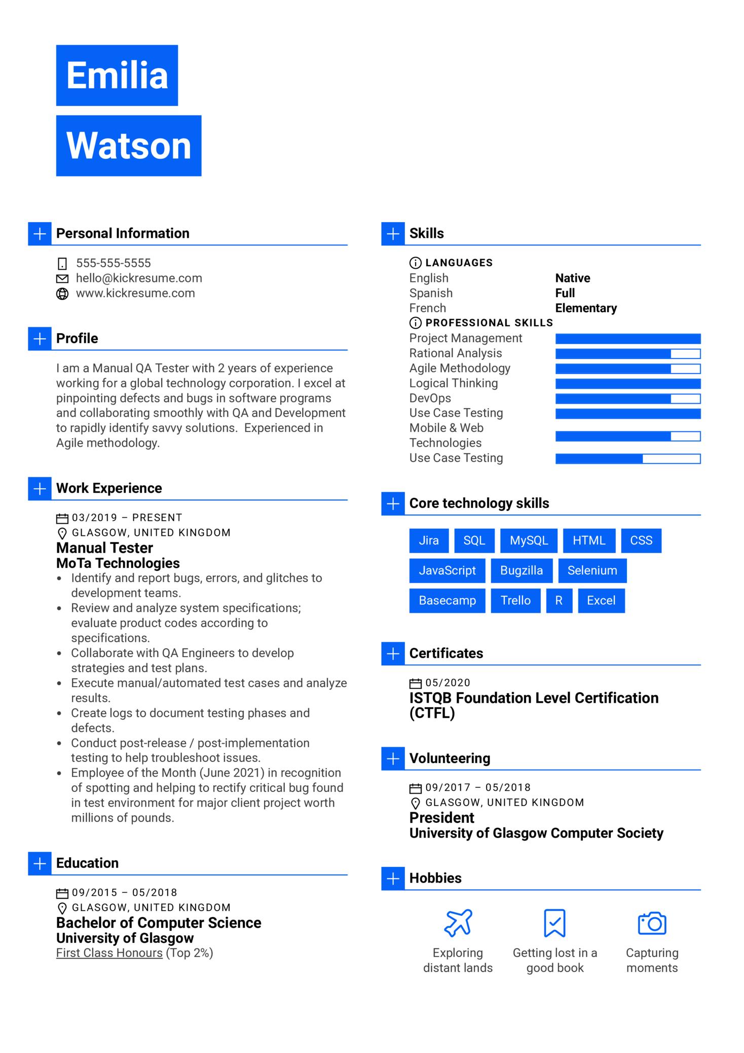 Manual Tester Resume Sample