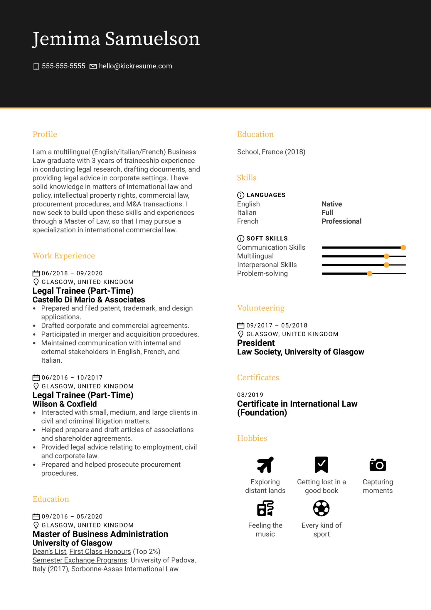 Law School Application Resume Sample