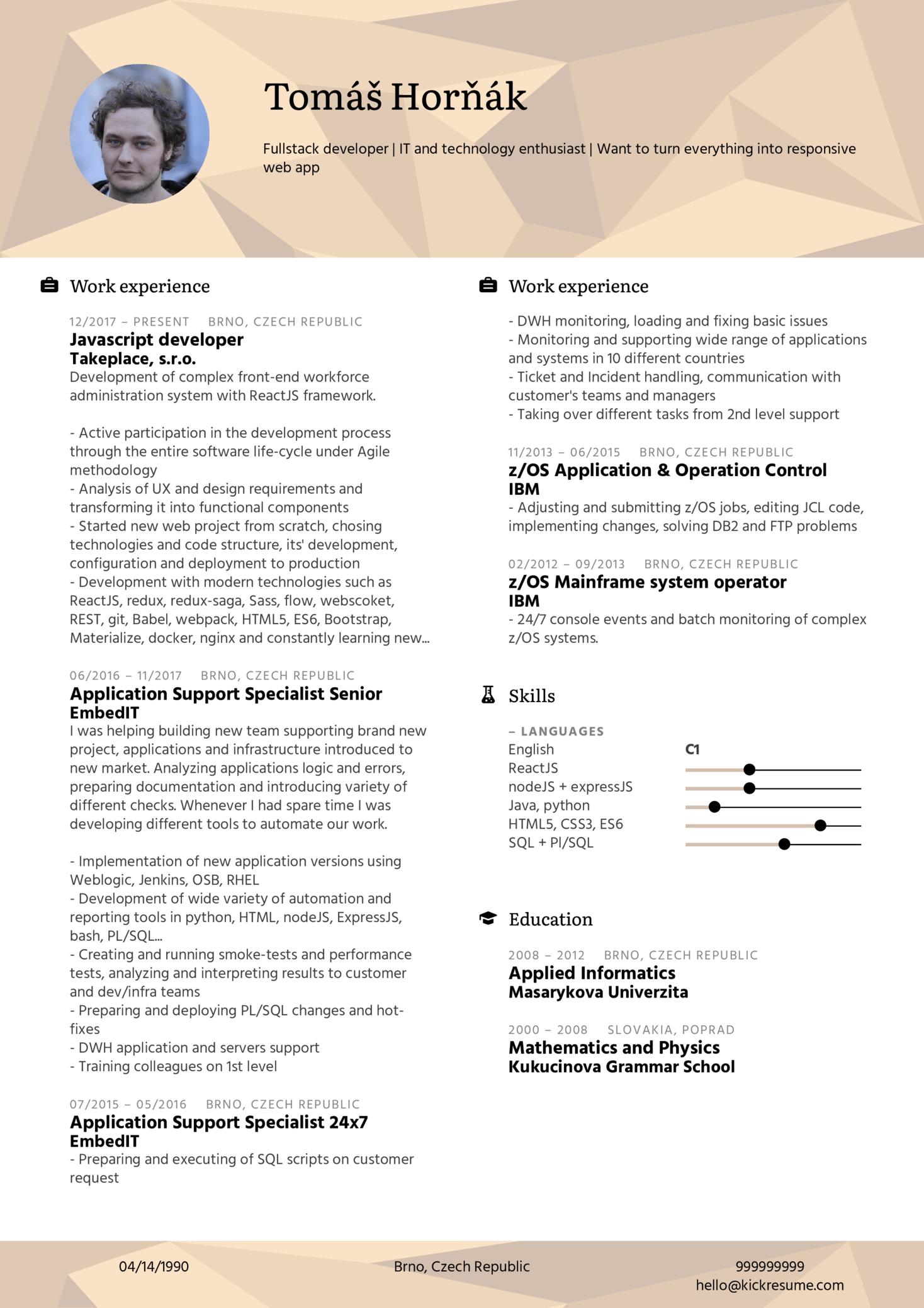 Takeplace Java Script Web Developer Resume Example (parte 1)