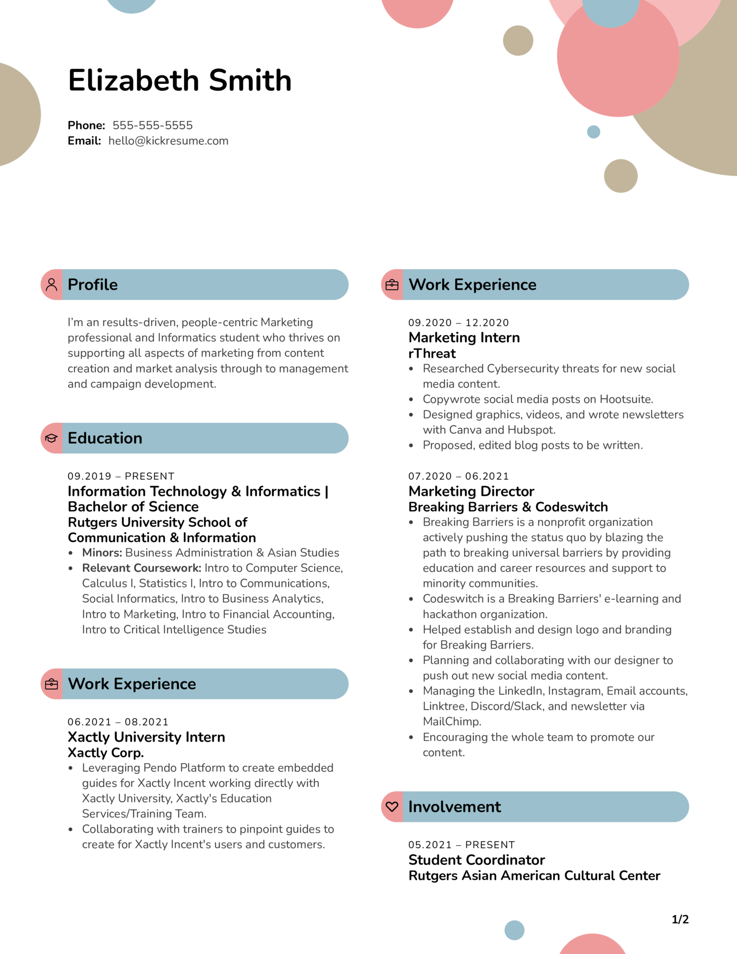 Intern at Xactly Corporation Resume Sample (Part 1)