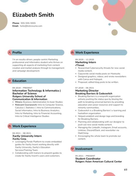 Intern at Xactly Corporation Resume Sample