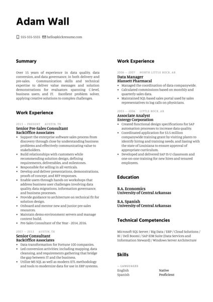 Solution Engineer at MuleSoft Resume Sample