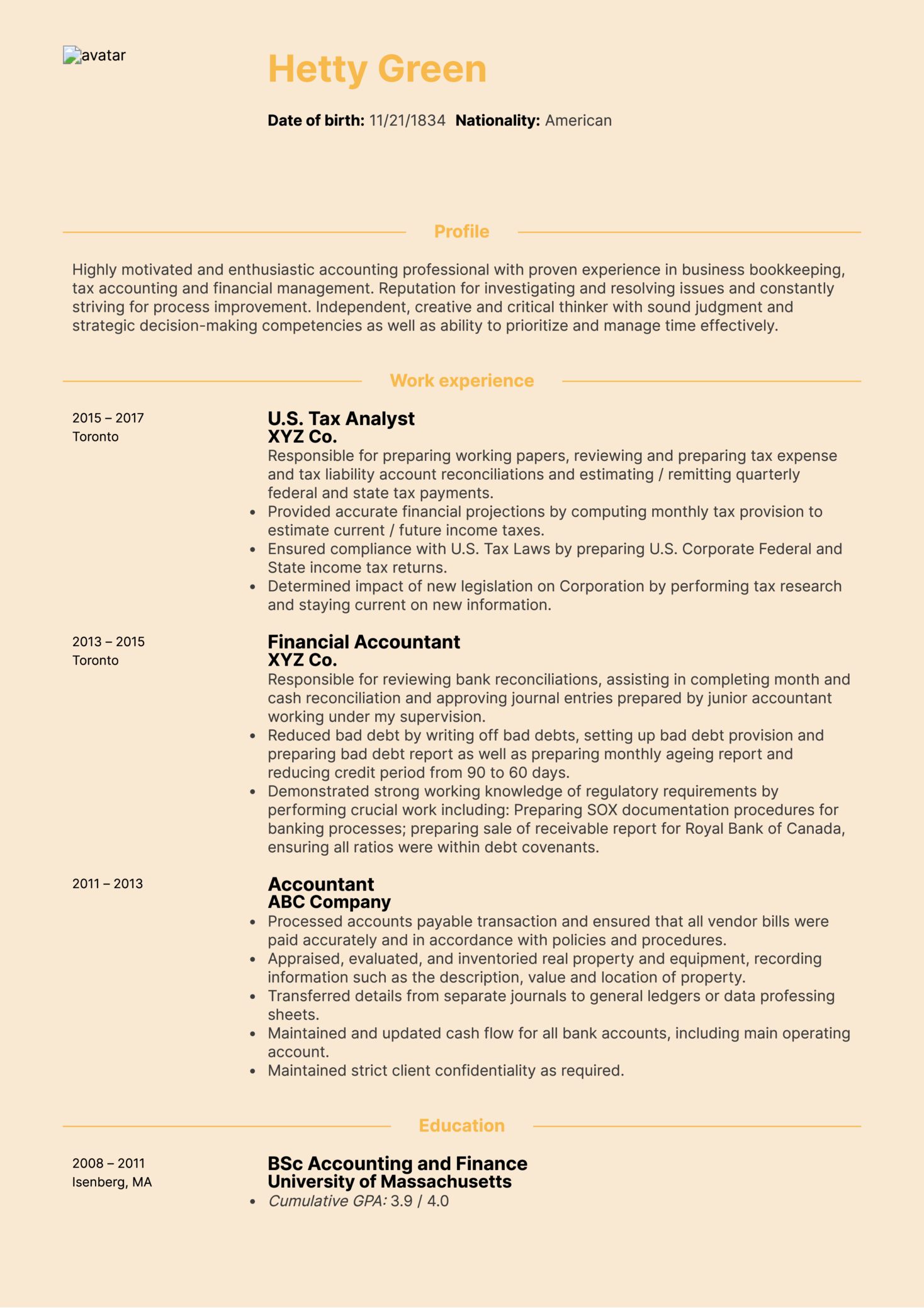 CPA Tax Accountant Resume Sample (Part 1)