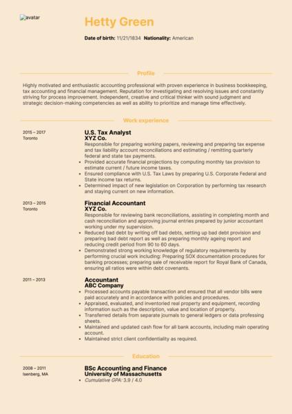 CPA Tax Accountant Resume Sample