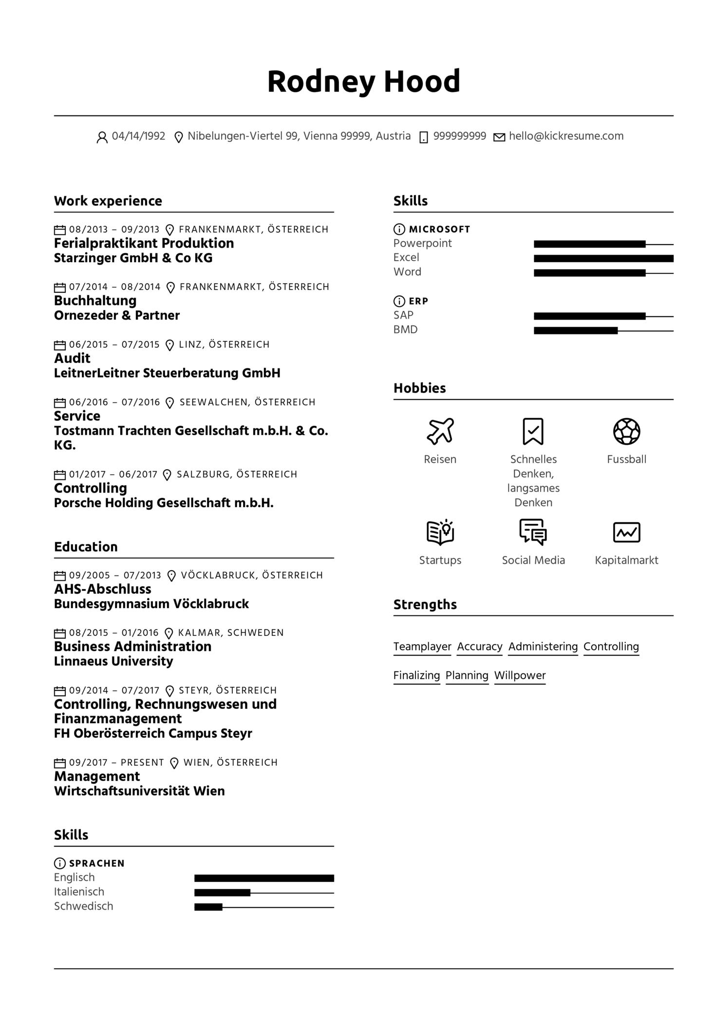 Human Resource Manager Resume Sample [DE]