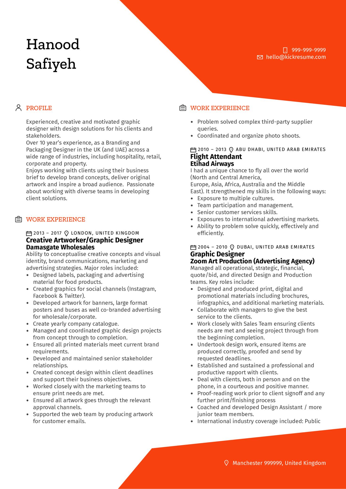 Manière De Voir Senior Graphic Designer CV Example (Teil 1)