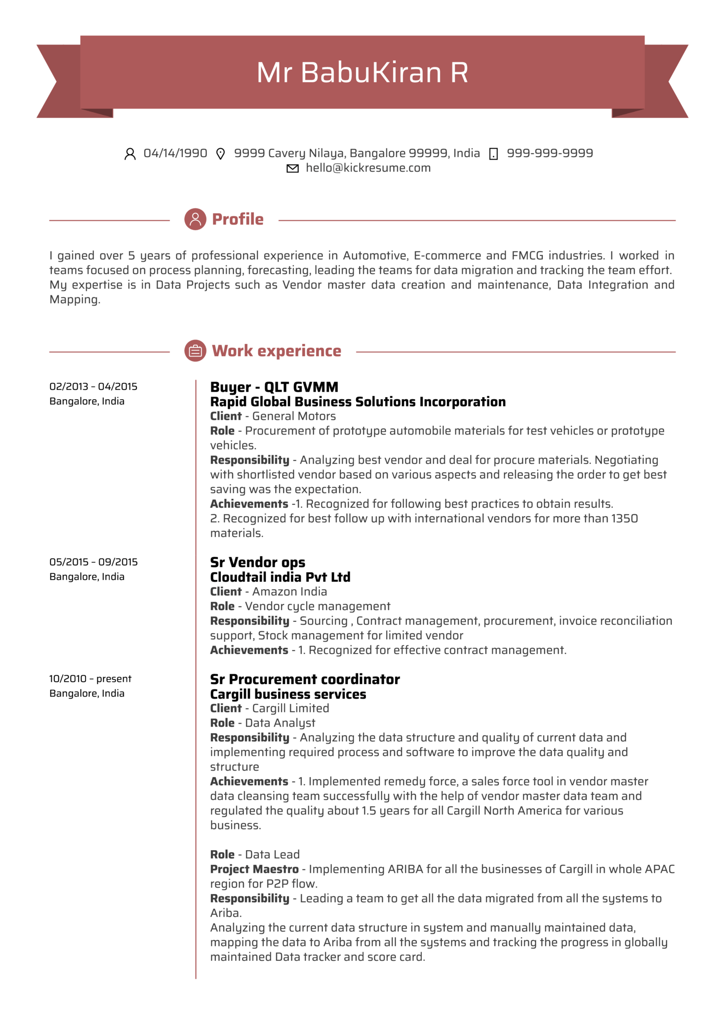 Data Analyst CV Example (časť 1)