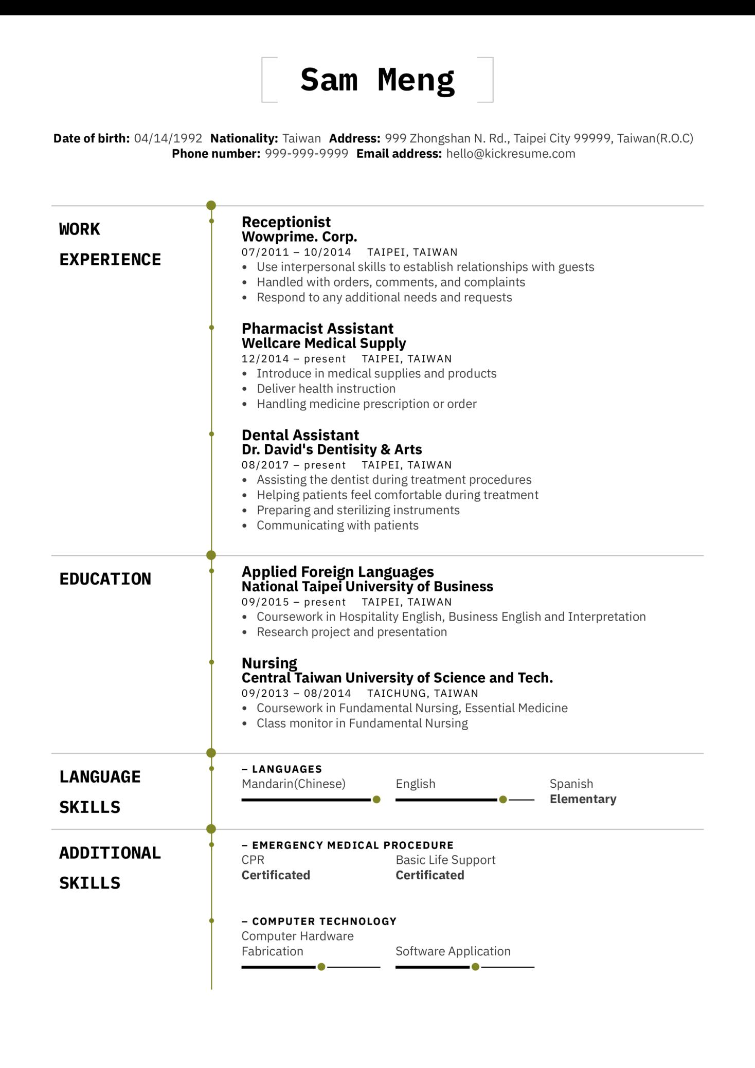 Dentist Assistant Resume Sample (Parte 1)