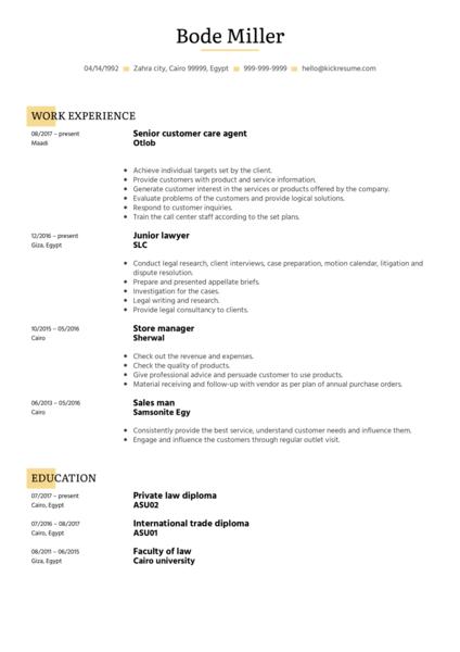 Otlob Customer Care Agent Resume Example