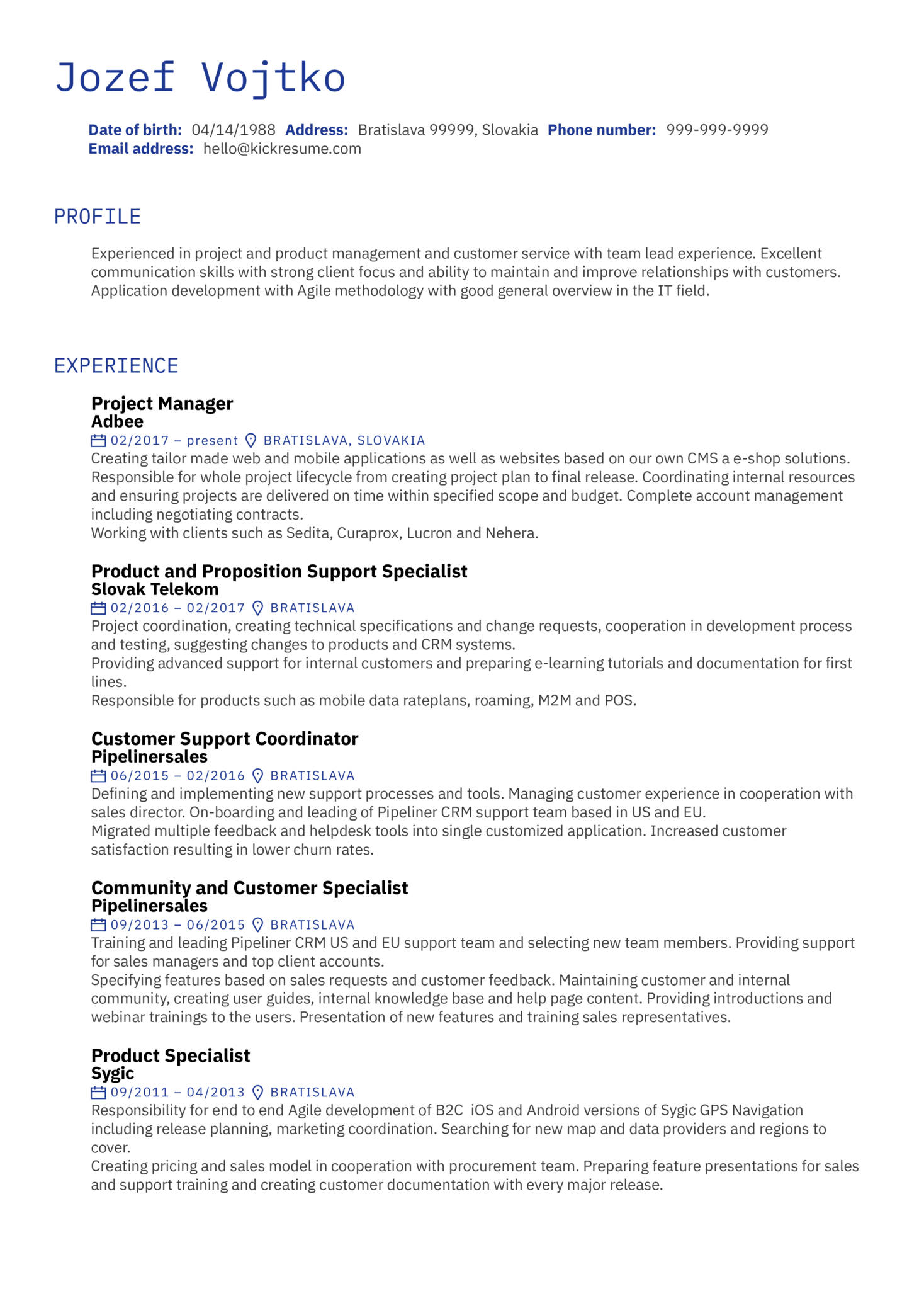Several Project Manager CV Sample (Part 1)