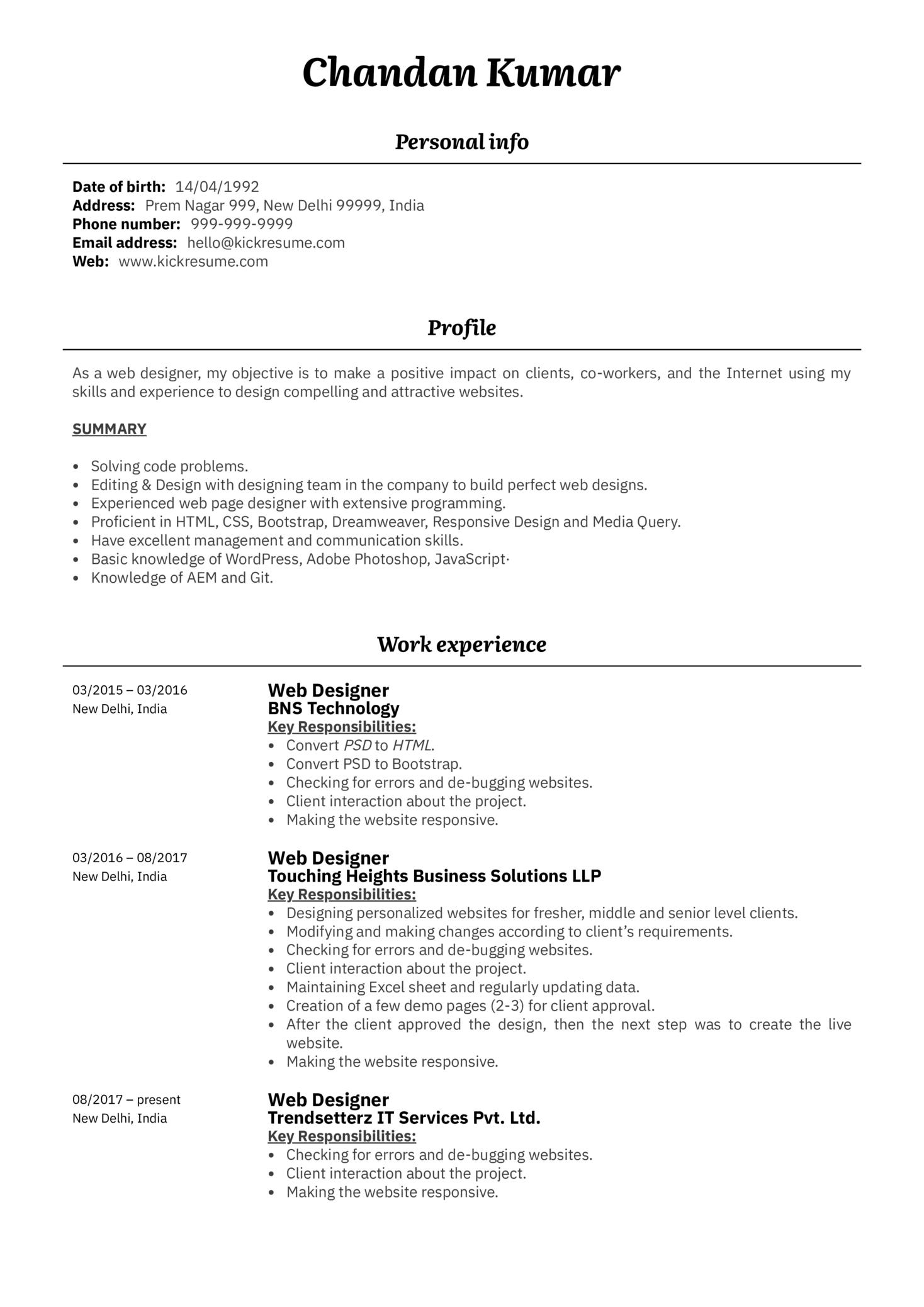 Professional Web Designer Resume Example (Part 1)