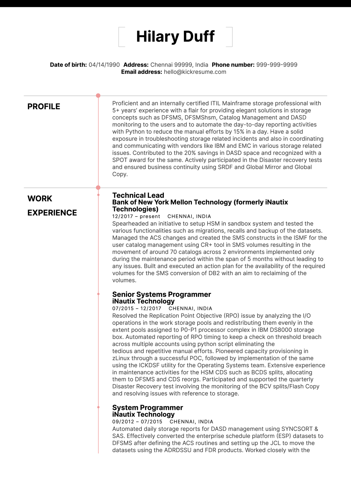 Merck Technical Lead Resume Sample (parte 1)