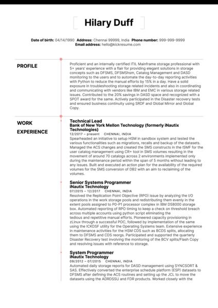 Merck Technical Lead Resume Sample