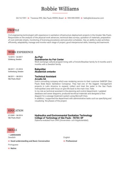 Engineering Technologist CV Template